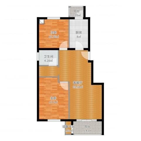 中南湾2室2厅2卫1厨108.00㎡户型图