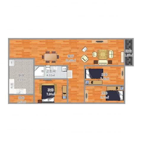 民乐翠园3室1厅1卫1厨92.00㎡户型图