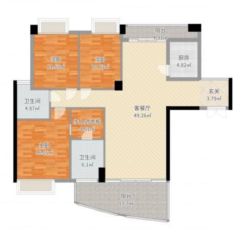 红建金城3室2厅2卫1厨158.00㎡户型图