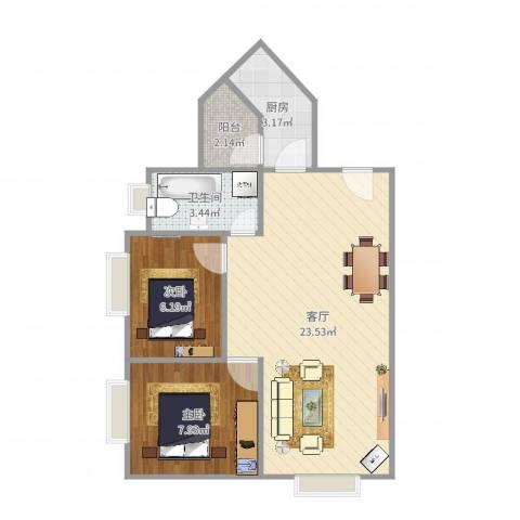 协和新世界2室1厅1卫1厨81.00㎡户型图