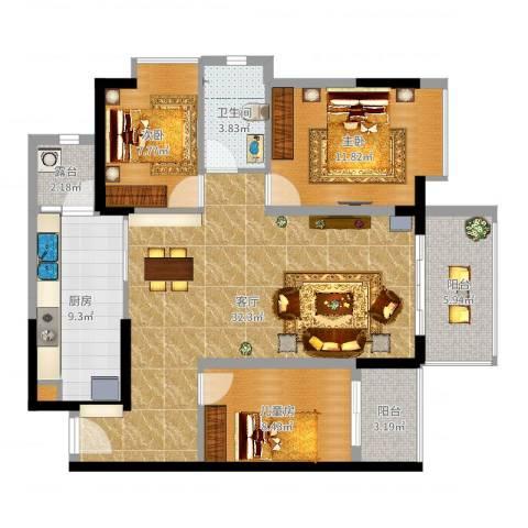 忠信春满园3室1厅1卫1厨106.00㎡户型图