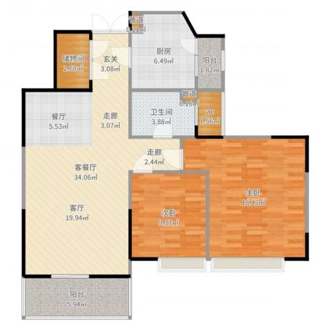 星雨华府2室2厅1卫1厨106.00㎡户型图