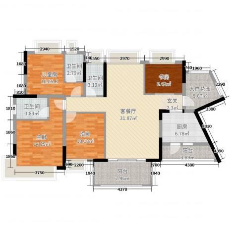 鸿安御花园4室2厅3卫1厨134.00㎡户型图
