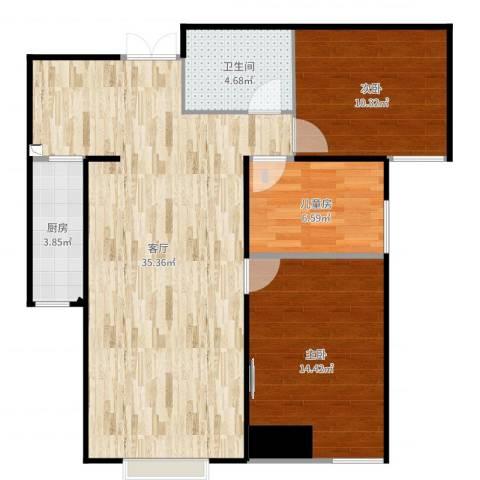 旺城温莎郡3室1厅1卫1厨94.00㎡户型图