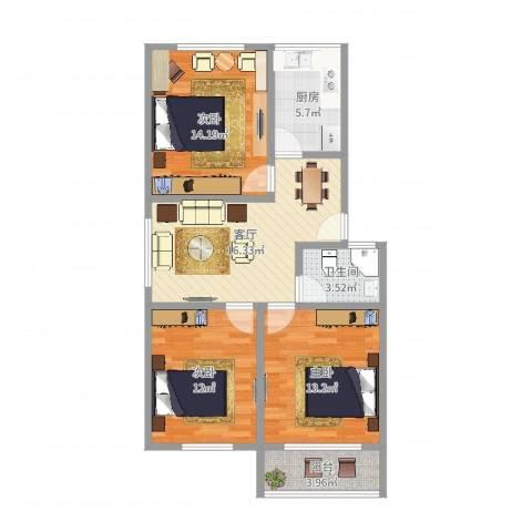 场中路755弄小区3室1厅1卫1厨86.00㎡户型图