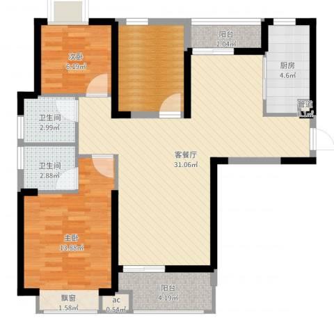 听涛观海龙台3室2厅4卫1厨95.00㎡户型图