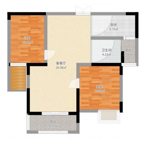 三盛颐景御园2室2厅1卫1厨84.00㎡户型图
