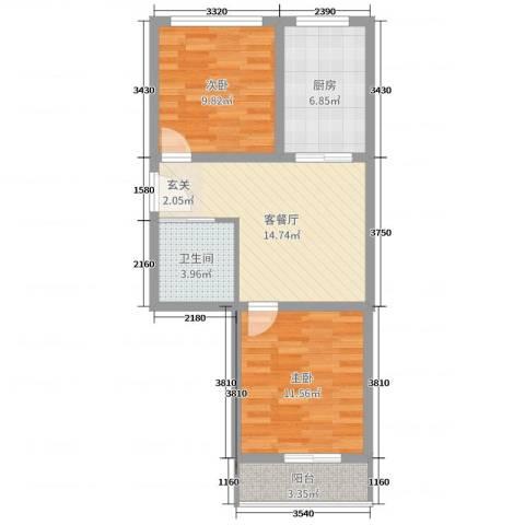 北晨嘉园2室2厅1卫1厨61.00㎡户型图