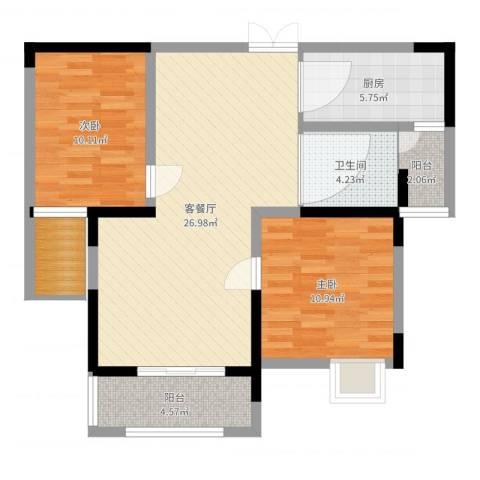 三盛颐景御园2室2厅1卫1厨85.00㎡户型图