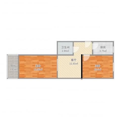 四平园2室1厅1卫1厨45.15㎡户型图