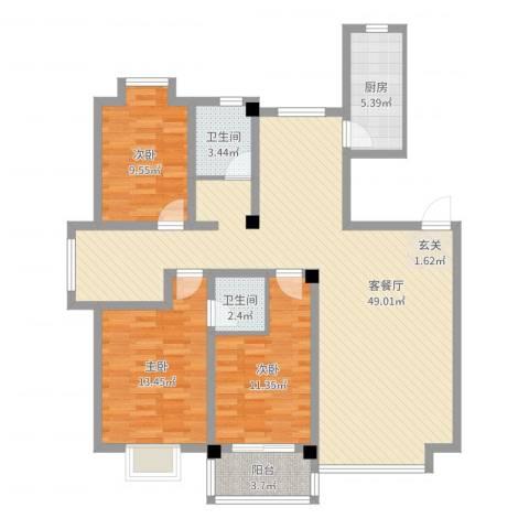 利丰花园3室2厅2卫1厨123.00㎡户型图