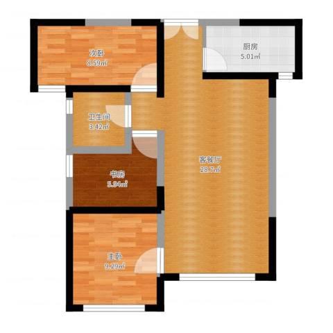 嘉逸岭湾3室2厅1卫1厨76.00㎡户型图