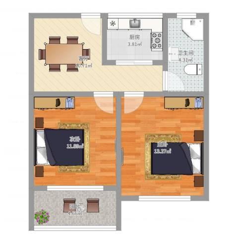 德华一村2室1厅1卫1厨61.00㎡户型图