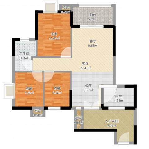 世纪城龙兴苑3室2厅3卫2厨98.00㎡户型图