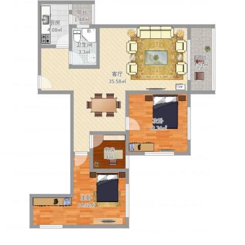 翠城花园3室1厅1卫1厨100.00㎡户型图