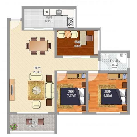 怡雅苑3室1厅1卫1厨83.00㎡户型图