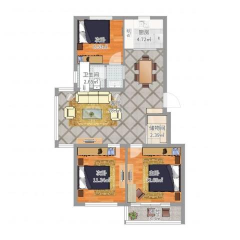 水尚阑珊3室1厅1卫1厨94.00㎡户型图