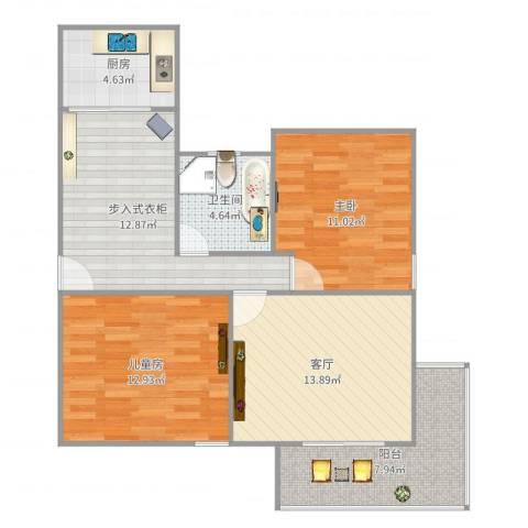 金杨公寓2室1厅1卫1厨85.00㎡户型图