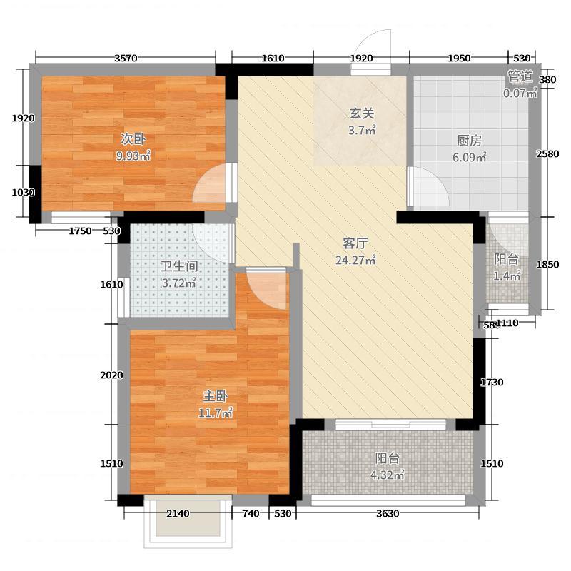中国核建锦城76.97㎡1、5号楼A1户型2室2厅1卫1厨