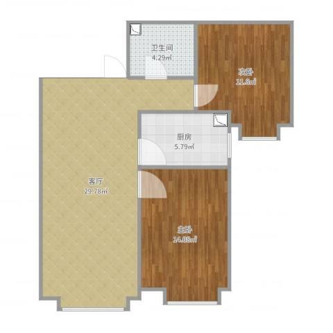 保利罗兰香谷二期2室1厅1卫1厨82.00㎡户型图