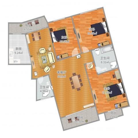 亚都国际名园3室2厅2卫1厨182.00㎡户型图