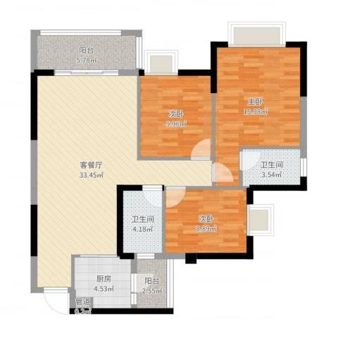 文泉西海岸3室2厅2卫1厨111.00㎡户型图