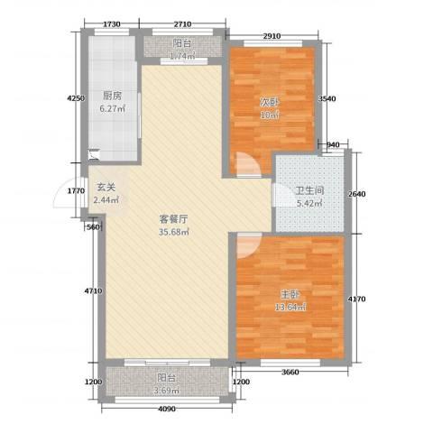 喜盛威尼斯五期2室2厅1卫1厨94.00㎡户型图