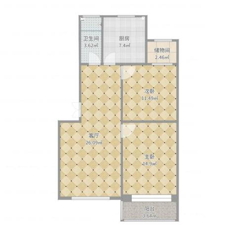 海景怡园2室1厅1卫1厨87.00㎡户型图