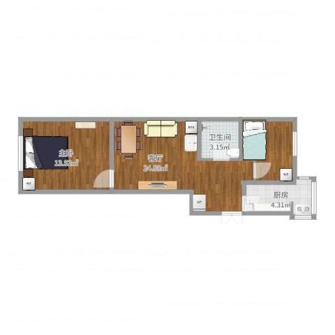 川南里2-1-6011室1厅1卫1厨57.00㎡户型图