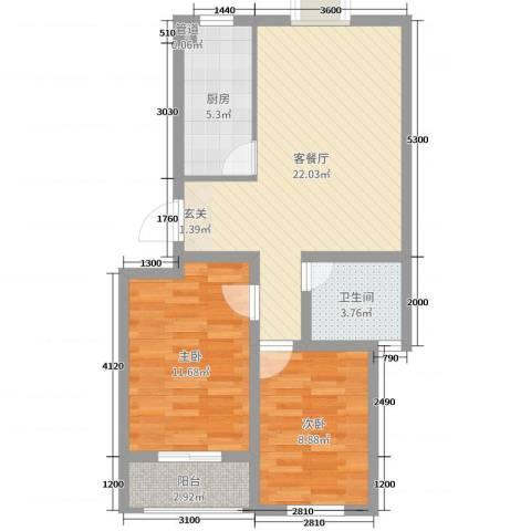 正棋山1号2室2厅1卫1厨74.00㎡户型图