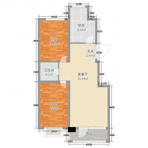 白沙小筑2室2厅1卫1厨105.00㎡户型图