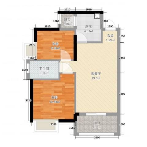 富盈公馆2室2厅1卫1厨70.00㎡户型图