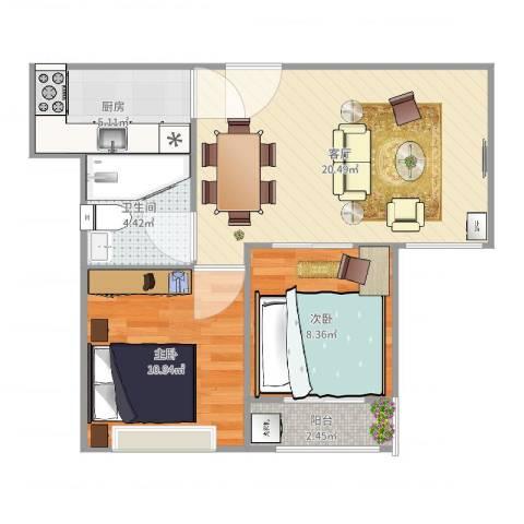 营创美域2室1厅1卫1厨65.00㎡户型图