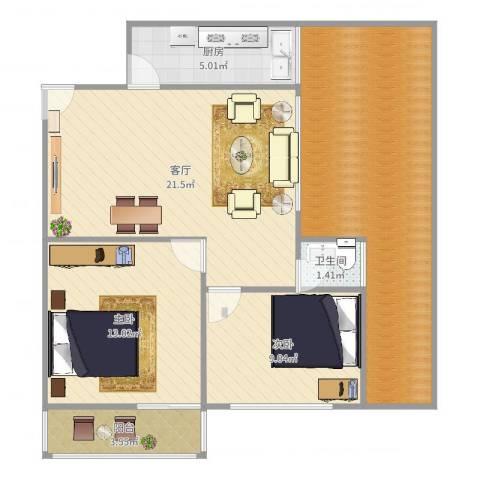 金鸡亭西林东里2室1厅1卫1厨92.00㎡户型图