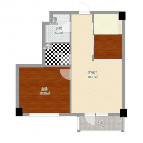 菁英汇1室2厅1卫1厨63.00㎡户型图