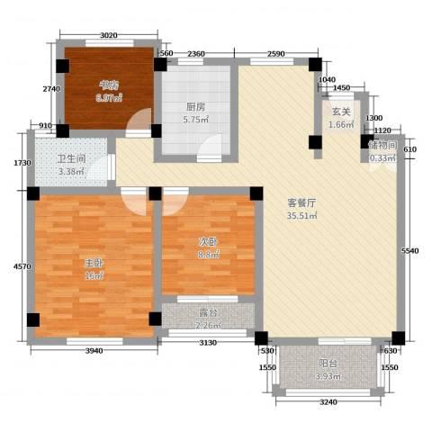 联投国际城3室2厅1卫1厨104.00㎡户型图
