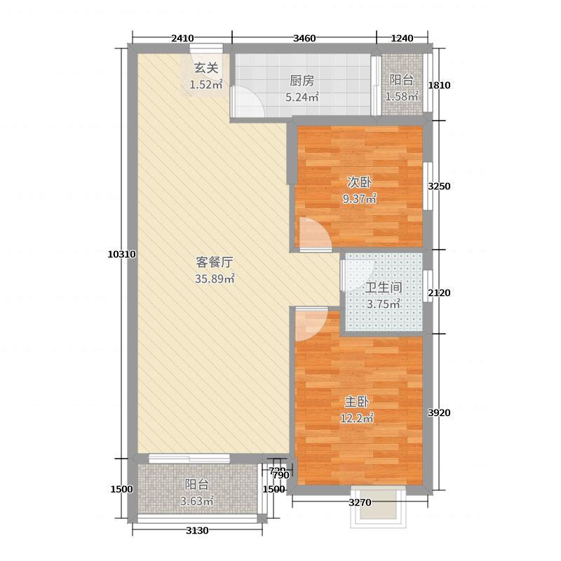 东方华府95.76㎡二户型2室2厅1卫1厨