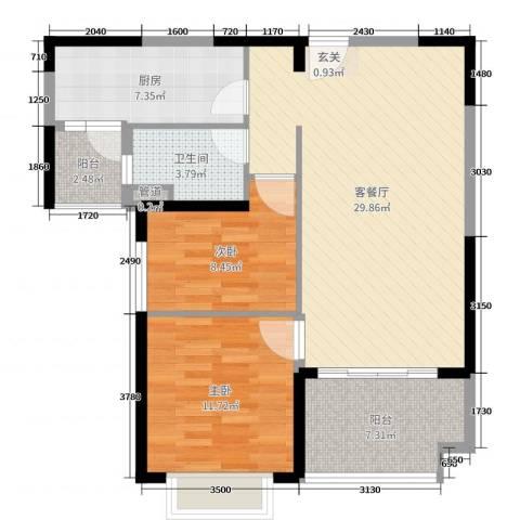 恒大绿洲2室2厅1卫1厨90.00㎡户型图