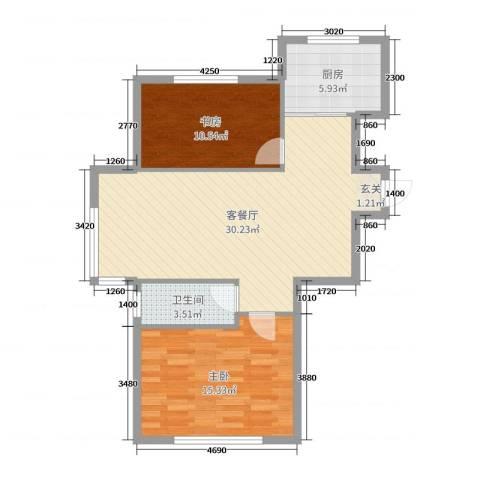 阳光丽景二期2室2厅1卫1厨82.00㎡户型图