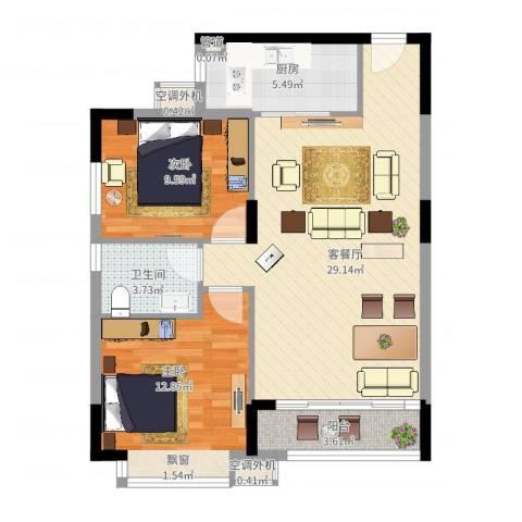 名品建筑2室2厅1卫1厨92.00㎡户型图