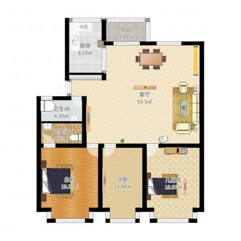 福林苑3室1厅4卫1厨157.00㎡户型图