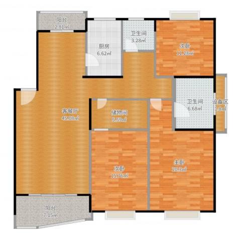 秋月枫舍(一期)3室2厅2卫1厨158.00㎡户型图