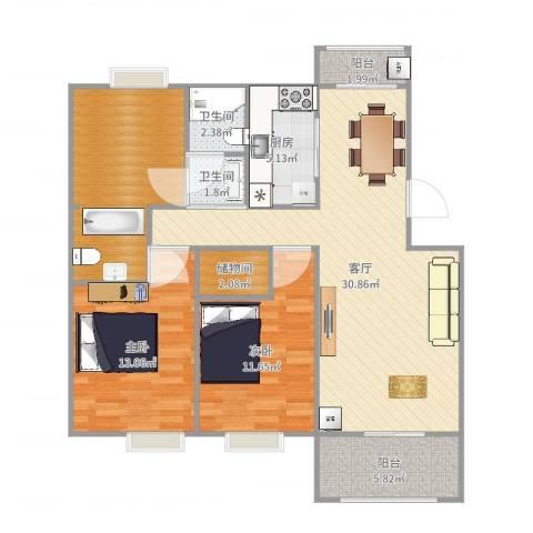 夏家桥118号2室1厅2卫1厨109.00㎡户型图