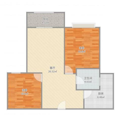 桂巷新村2室1厅1卫1厨81.00㎡户型图