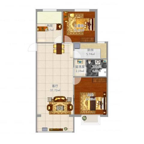 宣府第一城3室3厅1卫1厨106.00㎡户型图