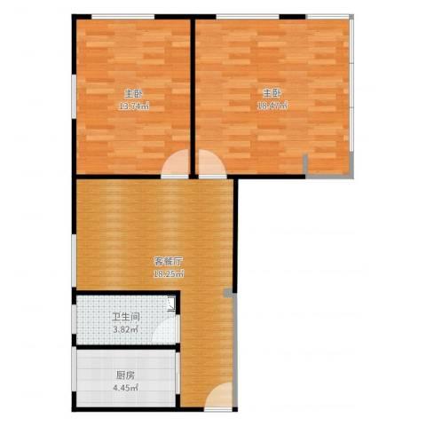 十堰里2室2厅1卫1厨73.00㎡户型图