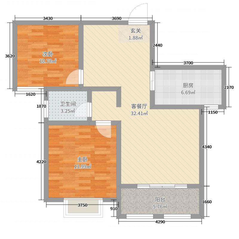 冠宜国际91.09㎡A2户型2室2厅1卫1厨