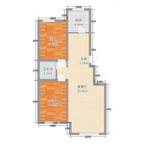 兴源・蓝海左岸2室2厅1卫1厨89.00㎡户型图