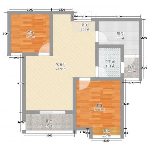 比克橄榄湾2室2厅1卫1厨81.00㎡户型图