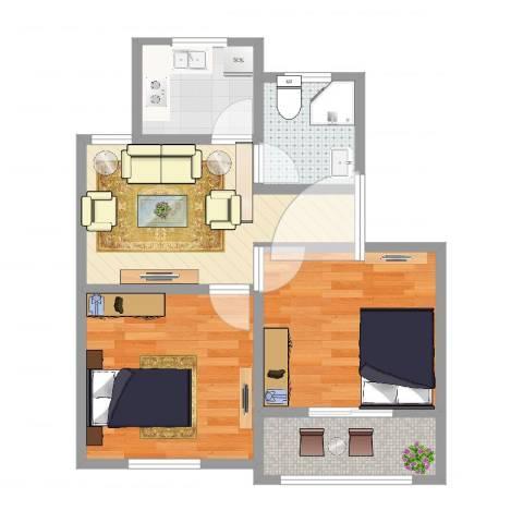 庆安一村2室1厅1卫1厨57.00㎡户型图